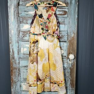 Desigual Golden Yellow Floral Beaded Dress Size 40